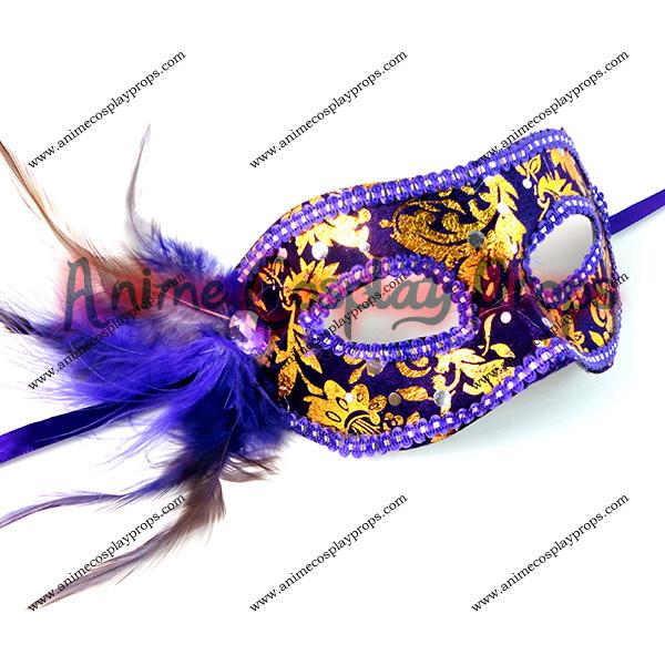 Masquerade Carnival Princess Feather Purple Venice Mask 01
